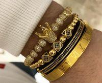 4pcs / set + römische Zahl Titan Stahlarmband Paar Armband / Krone für Liebhaber / Armbänder für Männer Luxus-Schmuck Frauen