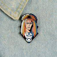 Punk style enamel pin personality long hair man lapel pin brooch shirt bag colorful cartoon badge lady jewelry gift to a friend