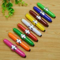 100 unids / lote 4 en 1 Multi-funcional Led linterna bolígrafo Táctil capacitivo bolígrafo Fidget Spinner Torch