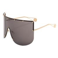 Vintage Fashion Oversized Shield Visor Mask Gafas de sol Mujeres Diseñador de la marca Gafas a prueba de viento One Peice Big Frame Goggles Sun GlassesY296
