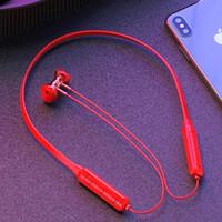 Sport Bluetooth Kopfhörer Halsohr Haken Typ Ohrhörer Laufen Metall Magnetische schwere Basskarten Plug-In Stereo Schwarz Rot