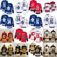 NHL 토론토 메이플 leafs 저지 John Tavares 캘거리 불길 Auston Matthews 보스턴 Bruins Patrice Bergeron 허리케인 Aho Hockey Jerseys