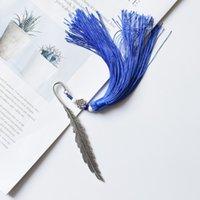 New borlas Styles Student Bookmark Retro Metal Prata Feather Trabalho Mão chinês nó contas de cerâmica decoração da página marcador caçoa o presente M504