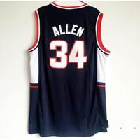 NCAA الرجال كرة السلة 34 راي ألين كلية الفانيلة Uconn كونيكت بنقص البنية ألين جيرسي البحرية الأزرق الفريق الكل مخيط لمشجعي الرياضة