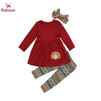 Pudcoco 유아 어린이 아기 여자 의류 터키 의상 의류 T 셔츠 드레스 셔츠 바지 추수 감사절 크리스마스 선물 탑