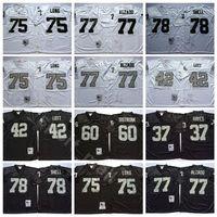 NCAA Futebol 75 Howie Long 37 Lester Hayes 42 Ronnie Lott Jerseys 77 Lyle Alzado 78 Art Shell Bo Jackson Homens Vintage Black White