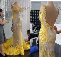2019 Luxe Robe de soirée col en V Backless dentelle florale 3D Appliqued perles sirène robe de bal balayage train Personnalisées fête officielle Robes