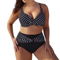 Summer Women Bikini Plus Size Polka Dot Split Swimsuit Set T...