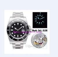 relógio de luxo 904L Fábrica de aço N V10 Versão Mens Automatic Cal 3135 Black Watch Verde Ceramic Bezel Dial 116.610 ETA Waterproof Men Watch
