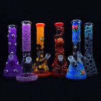 Resplandor en el vaso oscuro Bong 11 pulgadas 5 mm Nuevo diseño de agua de vidrio Tubería de agua fresca Pintura a mano DAB RIG RIG