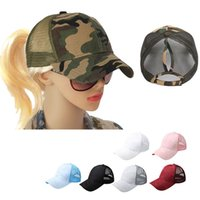 위장 포니 테일 트럭 운전사 모자 여성 지저분한 롤빵 야구 모자 스냅 백은 썬 캡 그물 표면 통기성 캐주얼 모자 캡