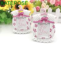 50PCS Rosa Baby-Kleid-Foto-Rahmen-Platz-Kartenhalter-Baby-Duschen-Bevorzugungen Geburtstags-Party-Dekoration VERSCHIFFEN frei Supplies