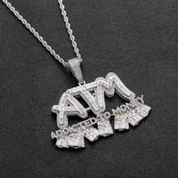Iced Out Baguette ATM Letters Pendant Necklace Addited to Mo...
