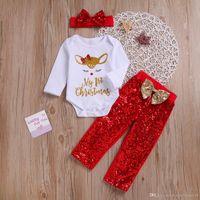 아기 소녀 크리스마스 옷 세트 엘크 편지 Romper + 붉은 나비 머리띠 + 스팽글 바지 긴 소매 1st 크리스마스 자식 양복