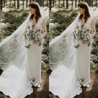 Abiti da sposa a maniche lunghe in pizzo boho con cintura Elegante scollo a V Gardern Country Bridal Gowns