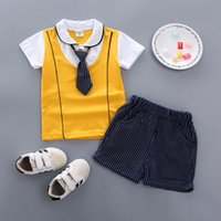 2019 Summer Kids Short Sleeve Set Baby boy casual striped ti...