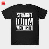 Straight Outta Winchester Supernatural Weißes T-Shirt Dean Winchester Pentasupernatural Tv Series Fan Art