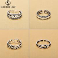Classique Rétro Vintage Argent 925 Open Hand Finger Hoop feuilles ouvert Anneaux pour la Journée Sterling Bijoux-Z en argent pour femme Valentine