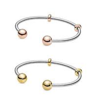 925 ayar Gümüş, Gül Altın, Altın Yılan zincir tarzı açık Bileklik Avrupa Pandora bilezikler Charms ve boncuk için uyar