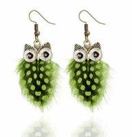 새로운 뜨거운 클래식 디자인 독창성 창의력 올빼미 깃털 웨이브 포인트 귀걸이 사랑스러운 동물 귀걸이 멀티 컬러 패션 고전 절묘한 전자