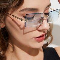 Quadro do vintage do retângulo óculos de sol Mulheres Homens Brand Design aro Quadratura Sol Óculos Frameless pequeno retro moderno design vanguardista UV400