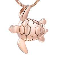 Z9949 cremación de acero inoxidable lindo rosa oro tortuga de tortuga cremación recuerdo colgante cenizas urn memorial souvenir collar collar joyería