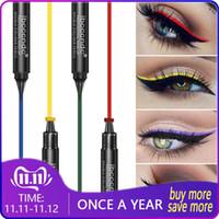 6 couleurs Liquid Eyeliner Pen Stamp Noir mat colorés Lazy Eyes Make Up Waterproof Quick Dry Rouge Jaune Vert Bleu Eyeliner