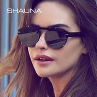 Nuevos llegados. SHAUNA Decoración de uñas Retro sin montura Gafas de sol  Mujeres ... 89a9629c7cdc