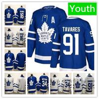 2019 Juventude 91 John Tavares Toronto Maple Leafs Jersey Juventude Auston Matthews 16 Mitch Marner Crianças Hockey Jerseys Branco Em Branco Azul Costurado