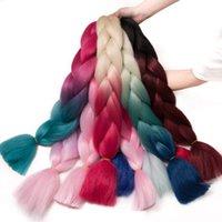 Nicole Örgü Saç 100g / PC Toplu Yumuşak Sentetik 24 İnç Kanekalon Jumbo Örgü Saç Uzatma Karışık Renk Pembe / Mavi / Sarışın Ücretsiz Kargo