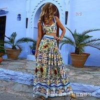 Moda Çiçek Baskı İki Adet Etek Seti Kadın Bohemian 2 Parça Etek ve Kırpma Üst Kıyafet Spagetti Kayışı Seksi Beach Suits