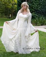 Robes De Mariée Gothiques Vintage Une Ligne Bell Manches Longues En Dentelle Renaissance Médiéval Halloween Costume 2020 Plus La Taille Robes De Mariée