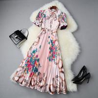 2020 azul floral del verano de manga corta cuello redondo color de rosa / Imprimir lazo de la cinta del arco del cordón vestido plisado la media pantorrilla elegantes vestidos casuales LJ18T10970