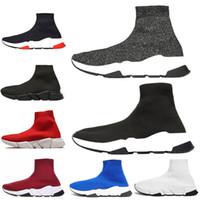 Balenciaga 2019 Tasarımcı Sneakers Hız Eğitmen Siyah Kırmızı Gypsophila Üçlü Siyah Moda Düz Çorap Çizmeler Rahat Koşu Ayakkabıları Koşucu Toz Torbası