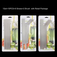 10PCS Set 8.5 inch 10.5 inch 304 Stainless Steel Metal Drinking Straws Straight Bent With Brush Reusable Drinking Straws Free Shipping