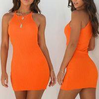 Новые женские женские платья сексуальные летние без рукавов танк тонкий мини короткий вязаный корпус сарафана оранжевый черный