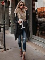 Rebicoo Женщины Длинный Открытый Кардиган Повседневная Пальто из Искусственного Меха Воротник Дамы 2019 Осень Зима Мода Мягкая Верхняя Одежда Куртка Негабаритных