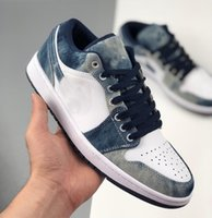 1 Low Chaussures Designer Casual Shoes 1s Washed Denim Washed Tie-dye Denim Outdoor Hommes Chaussures de planche à roulettes