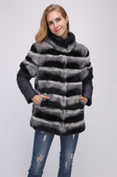 lady women real rex rabbit fur chinchilla color coat with do...