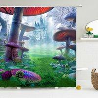 Castello di fumetto fantasy tenda della doccia Bagno schermo impermeabile bambini Mushroom House Stampa del bagno del poliestere tenda della doccia