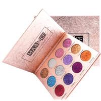 Maange 12 Renkler Elmas Preslenmiş Altın Parlak Göz Farı Su Geçirmez Pırıltılı Glitter Mat Göz Farı Paleti DHL Ücretsiz