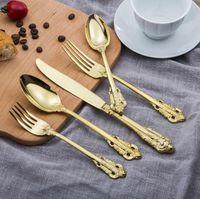 Высокосортный ретро набор столовых приборов серебро и золото набор столовых приборов из нержавеющей стали нож вилка ложка 5-штучный набор посуды наборы посуды