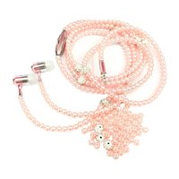 Fashion Pearl Necklace Earphones with Microphone Wire Contro...