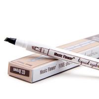4-Gabel Micro Augenbrauenstift 4 Spitz Flüssiges Augenbraueschönheitsbehandlung Pen Wasserdicht natürliche 4 Farben Mischfarbe Tage Augen Make-up