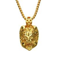 hip hop tête de lion diamant pendentif colliers pour hommes animal luxe collier en acier inoxydable cubain chaînes en or créateur de mode bijoux cadeaux