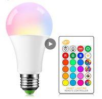 E27 LED 5/10 / 15W 16 اللون تغيير ماجيك لمبة 220 فولت 110 فولت RGB + الأبيض عن بعد ضوء الذكية ضوء مصباح مانع + الأشعة تحت الحمراء التحكم عن بعد