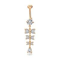 Anneaux de nombril doux cristal brillant Bowknot Piercing nombril anneaux pour les femmes corps Piercing 18k or jaune plaqué bijoux de mode de nombril