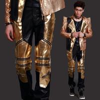 Мужской костюм Одежда сцены ночного клуба моды брюки кожаные мужские брюки Моноблок для певицы танцор шоу исполнении звезды