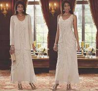 أنيقة الخامس الرقبة طويل مساء فساتين رسمية الأم من فساتين العروس مع الستر مطرزة chaussures اللباس الأم الشيفون مخصص