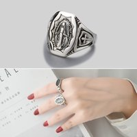 Leouerry 925 Sterling Silver Emboss Virgin Mary Rings Simple...